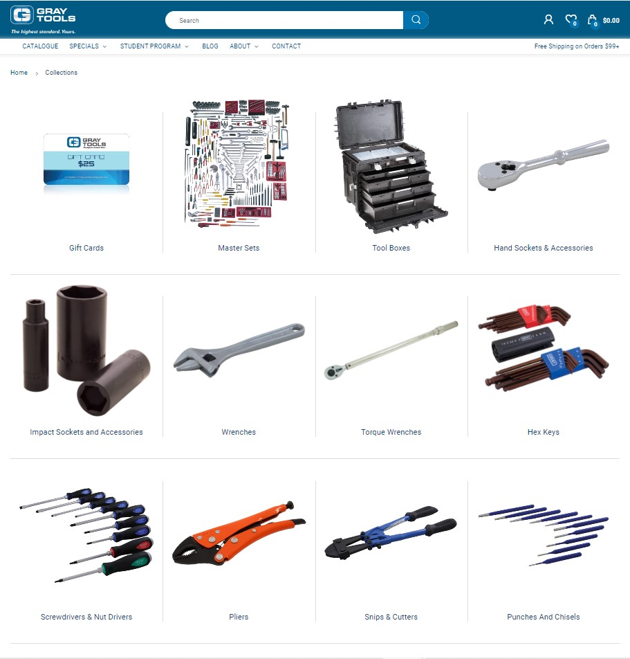 example of store navigation PIM software for managing Shopify collections for industrial tools